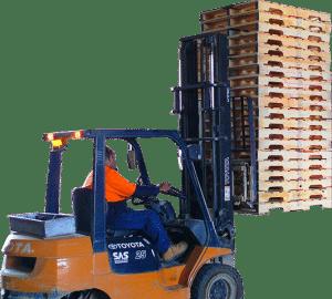wooden pallets on forklift