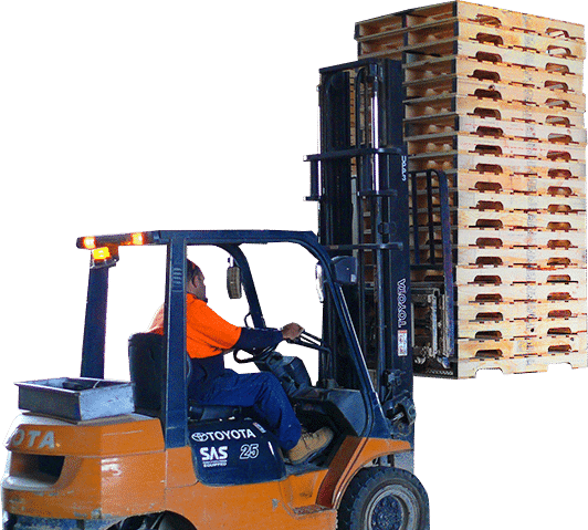 wooden pallets on forklift